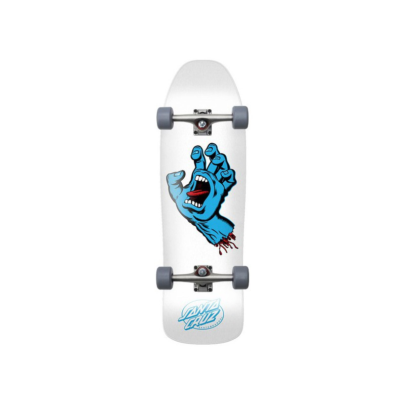 "Santa Cruz Screaming Hand 9.35"" White Complete Skateboard"