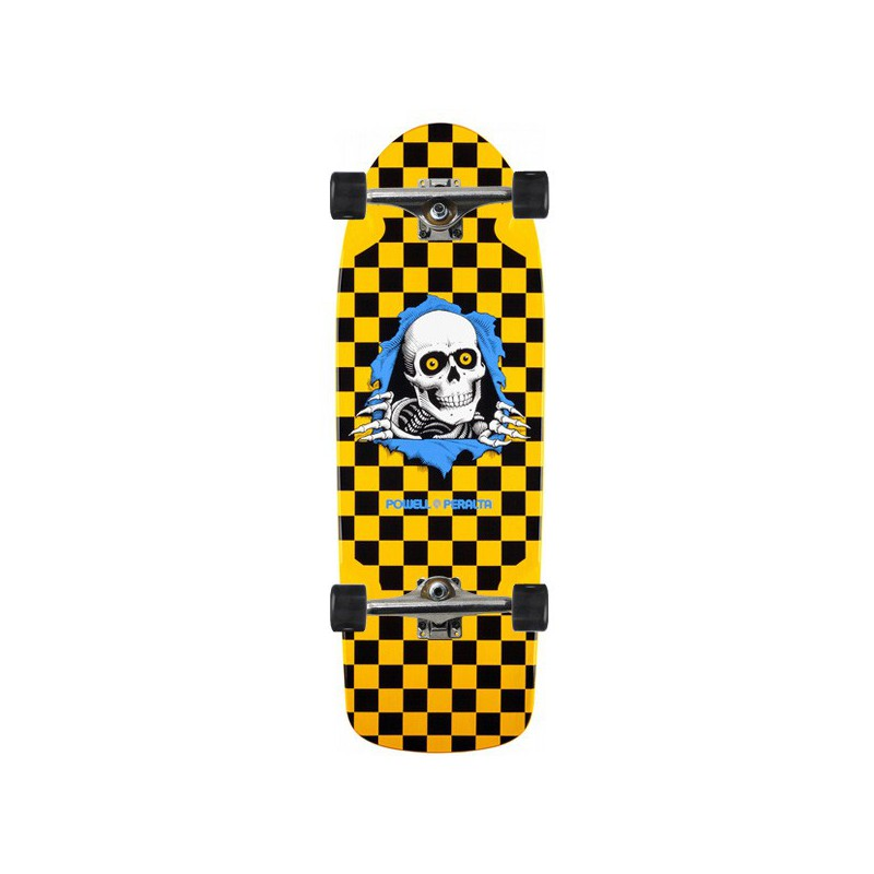 "Powell Peralta OG Ripper 10"" Yellow Checker Complete Skateboard"