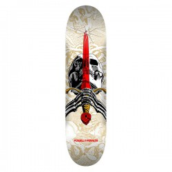 "Powell Peralta Skull & Sword PP 7.5"" White Skateboard Deck"