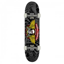 """Powell Peralta Winged Ripper PP 8"""" Silver Complete Skateboard"""