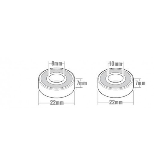 Skateboard bearings by axles size compatibility